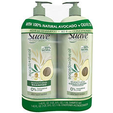 Suave Professionals Shampoo & Conditioner, Avocado + Olive Oil (40 fl. oz., 2 pk.)