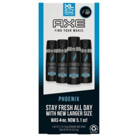 AXE XL Deodorant Body Spray, Phoenix or Apollo (5.1 oz., 4 pk.)
