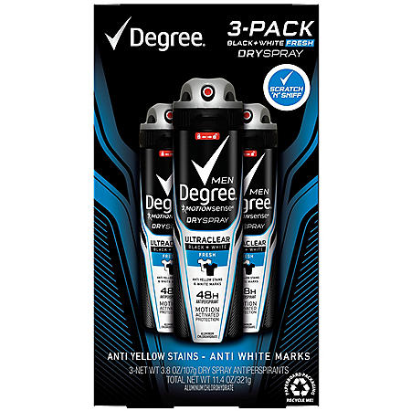 Degree for Men Black+White Fresh Dry Spray (3.8 oz., 3 pk.)