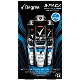 Degree for Men Black+White Fresh Dry Spray (3.8 oz., 3pk.)