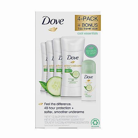 Dove Advanced Care Deodorant, Go Fresh Cool Essentials (2.6 oz., 4 pk. + 1 oz. Dry Spray)