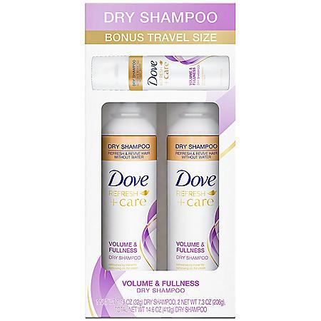 Dove Dry Shampoo Volume and Freshness with Bonus Travel Size (7.3 oz., 2 pk.)