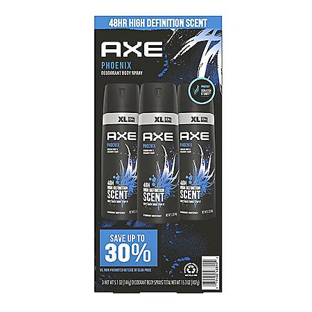 AXE Dual Action Body Spray Deodorant Phoenix (5.1 oz., 3 pk.)