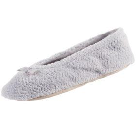 Isotoner Women's Chevron Microterry Ballerina Slippers