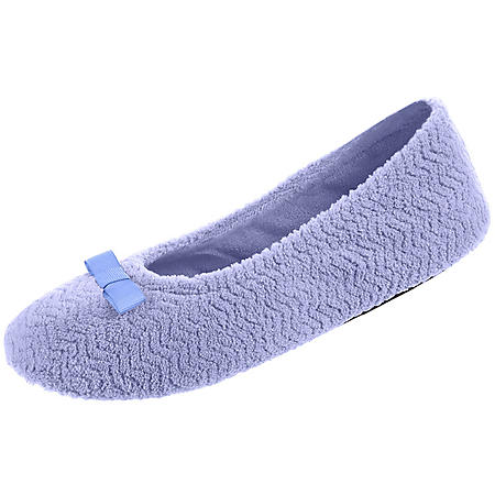 Isotoner Women's Chevron Microterry Ballerina Slippers