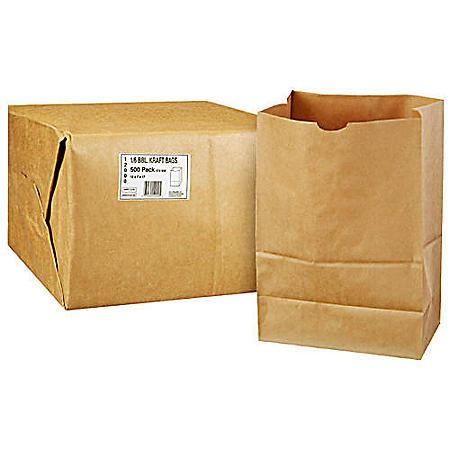 Duro Member's Mark Bag 1/6 BBL Kraft Bag -  500 ct.