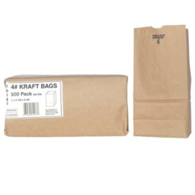 Duro Member's Mark Bag 4# Kraft Bags (500 ct.)