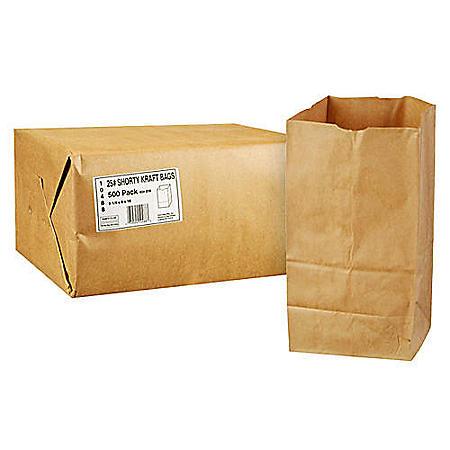 Duro Member's Mark Bag 25# Shorty Kraft Bags (500 ct.)