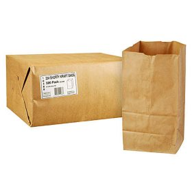Duro Member's Mark Bag 25# Shorty Kraft Bags - 500 ct.