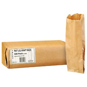 Duro Bag Pint Liquor Kraft Bags - 500 ct.