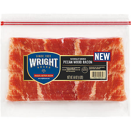 Wright Brand Thick Cut Bacon, Pecan Wood Smoked (4 lbs.)