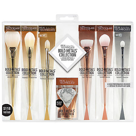 Real Techniques Bold Metals Collection Box, Makeup Brush Set