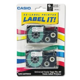 Casio - Tape Cassettes for KL Label Makers, 9mm x 26ft, Black on Clear -  2/Pack