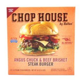 Chop House by Holten Angus Chuck and Beef Brisket Steak Burger (12 ct.)