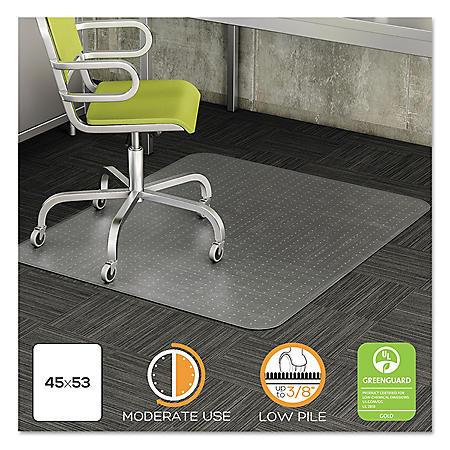 Deflecto DuraMat Moderate Use Chair Mat For Low Pile Carpet, 45 x 53