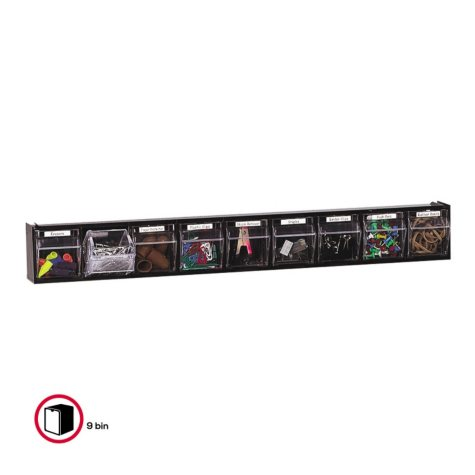 Deflect-O Tilt Bin™ Interlocking Storage System - 9 Bins - Black
