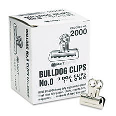 "X-ACTO - Bulldog Clips, Steel, 5/16"" Capacity, 1""w, Nickel-Plated -  36/Box"