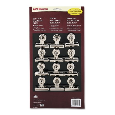 "Xacto Bulldog Magnetic Clips, Steel, 2-1/4""w, Nickel-Plated, 12/Box"