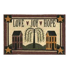 """""""Love, Joy, Hope"""" Printed Koko Door Mat , 18 x 30"""