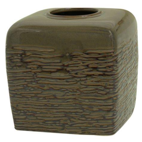 Brown Stoneware Tissue Cube