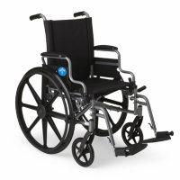 "Medline K4 Basic Wheelchair Removable Desk Length Armrests and Swing Away Leg Rests (20""x 18"" Seat)"