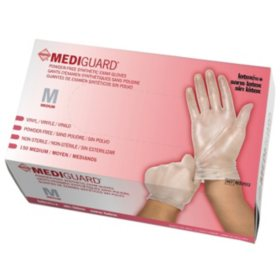 MediGuard Vinyl Synthetic Exam Gloves, Medium, 10 boxes - 150 ct. each