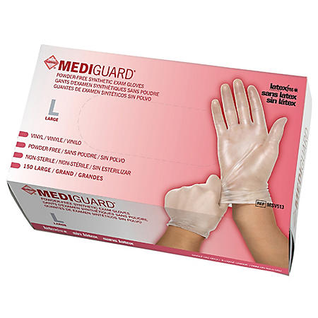MediGuard Vinyl Synthetic Exam Gloves, Large, 10 boxes - 150 ct. each
