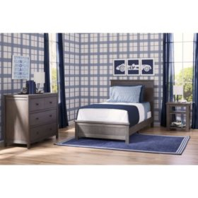 Delta Children Homestead Room-in-a-Box 3-Piece Bedroom Furniture Set, Rustic Grey