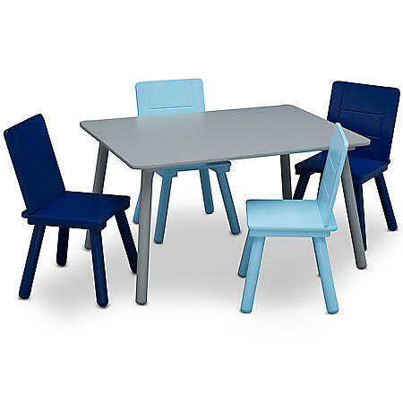 Delta Children Kids' Table and Chair Set (4 Chairs Included), Assorted Colors