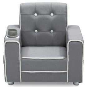 Delta Children Chelsea Kids' Upholstered Chair with Cup Holder, Soft Grey