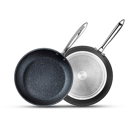 "Granitestone Pro 10"" and 11.5"" Aluminum Nonstick Hard-Anodized Diamond-Infused 2-Piece Fry Pan Set"