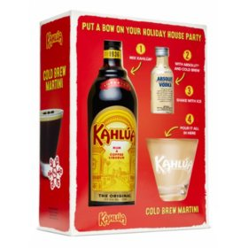 Kahlua Liqueur Cold Brew Martini Gift Pack (750 ml Kahlua, 50 ml Absolut, Kahlua Glass)
