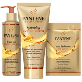 Pantene Gold Series Styling & Moisturizing Pack With Hydrating Butter-Creme, Detangling Milk Treatment and Co-Wash