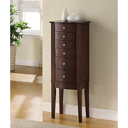 Contemporary Jewelry Armoire, Merlot