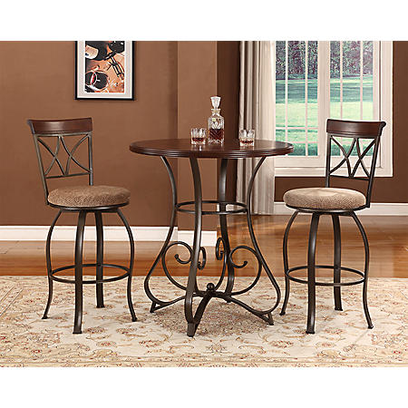Hamilton Pub Table & Swivel Bar Stools 3-Piece Set
