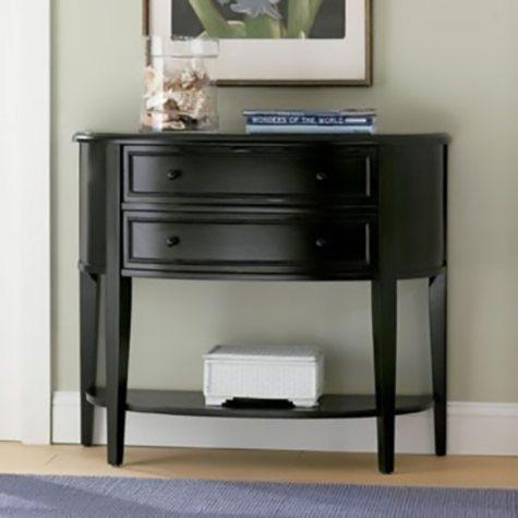 Demilune Console Table, Antique Black