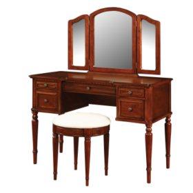 Vanity, Mirror and Bench Set, Warm Cherry