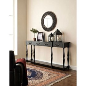 Classic Console Table, Black Crackle