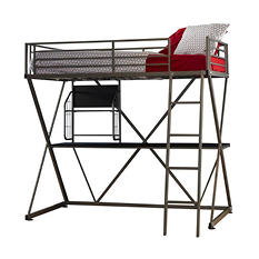 Z-Bedroom Twin Loft Study Bunk Bed - Pewter