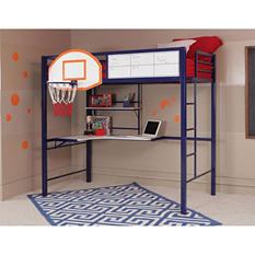 Hoops Metal Basketball Twin Loft Bed with Study