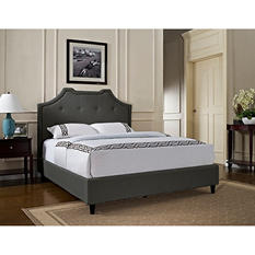 Crown Button Tufted Upholstered Full/Queen Bed - Charcoal
