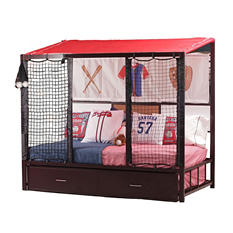 Home Run Dugout Twin Bed with Twin Trundle