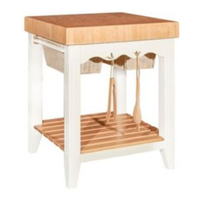 Kitchen Island Butcher Block, White