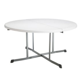 "Lifetime 60"" Fold-In-Half Round Commercial Grade Table, Various Colors"