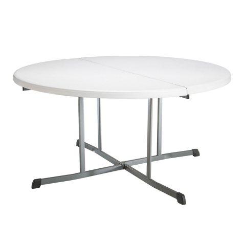 "Lifetime 60"" Round Fold-in-Half Commercial Grade Table, White Granite"