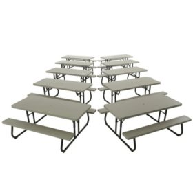 Lifetime 6' Folding Picnic Table, 10 pack - Putty