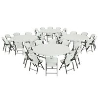 """Lifetime Combo - (4) 72"""" Round Commercial Grade Folding Tables and (40) Folding Chairs, White Granite"""