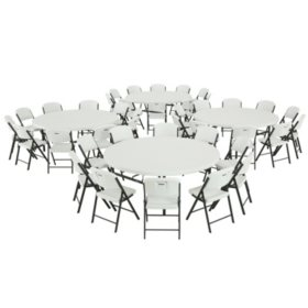 "Lifetime Combo - (4) 72"" Round Commercial Grade Folding Tables and (40) Folding Chairs, White Granite"