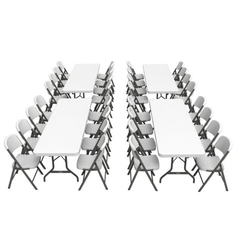Lifetime Combo-Four 8' Commercial Grade Non-Nesting Folding Tables and 32 Folding Chairs, White Granite