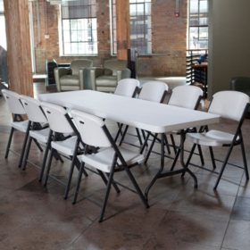 Lifetime Combo - 8' Table and (8) Folding Chairs, White